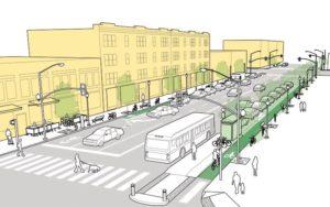 эскиз проекта городской улицы